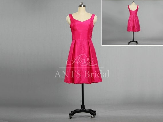 2014 Discount Simple Short Hot Pink Bridesmaid Dress Cheap Bridesmaid Gown Low Back Party Dress Short E405