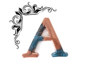 Wall Letter, Copper and Blue Letter A, Alphabet Letter A Handmade in Epoxy Resin for Home Decor, Wall Art, Wall Signs, Door Signs