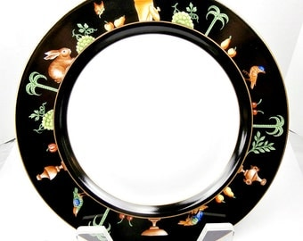Tiffany & Co. Limoges China Handpainted Black Shoulder 10 1/4 inch Plate 5 Le Tallec Made in France Pompeii Murals Vintage China