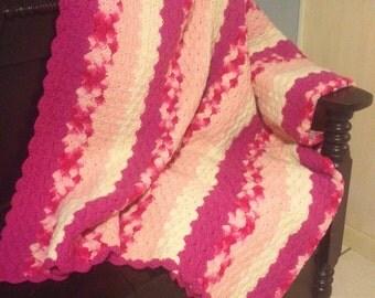 SALE Vintage Crochet Afghan Bedspread Coverlet Pink 1970's