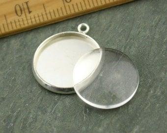 10 Silver plated Brass 16mm Cabochon Base Setting Charm Pendants gm157s-16(10pcs)