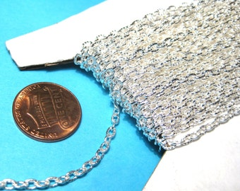 30 Ft /Spool Bright Silver Plated Textured Links Opened Cable Chains 4x2mm(No. 967)