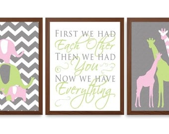 Elephant Nursery - Nursery Art For Girl - Giraffe - Girls Room Art - Chevron Nursery - Elephant - Nursery Quote - Set Of 3 Prints