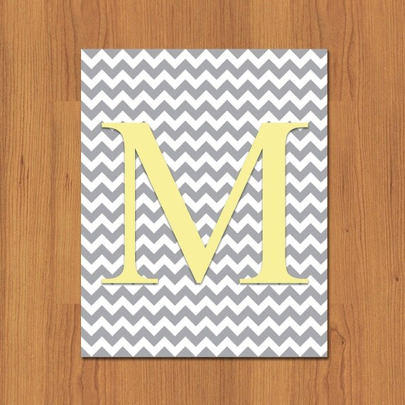 Items Similar To Letter M Wall Art Print Grey Yellow