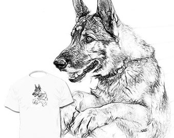 Popular items for dessin de chien on etsy - Coloriage berger allemand ...
