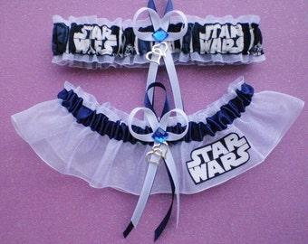 Star Wars Fabric Jewel Wedding Bridal Garter Set Prom Double Heart Charm