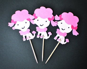 Dog - Poodle Cupcake Toppers - Shades of Pink - Dog - Set of 12
