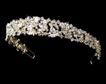 Bridal headband, Wedding headpiece, Rhinestone headband, Bridal Tiara, Gold headband, Crystal headpiece