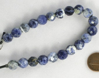 Blue Sodalite Gemstone Beads faceted round 10mm, 2.5 large hole