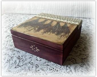 Wooden decoupage box , Lavender keepsake box , vintage style  lavender box , jewelry box , decoupage box
