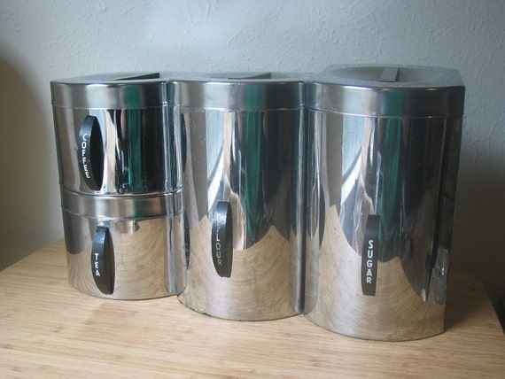 vintage metal kitchen canisters vintage silver metal kitchen canister set 22596