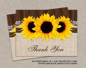 Rustic Sunflower Thank You Cards With Burlap And Lace, DIY Printable Sunflower Wedding Thank You Postcards, Rustic Thank You Card