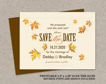 Fall Wedding Save The Date Postcard, Fall Save The Date Postcard, Autumn Save The Date Postcard, Printable Save The Date Card