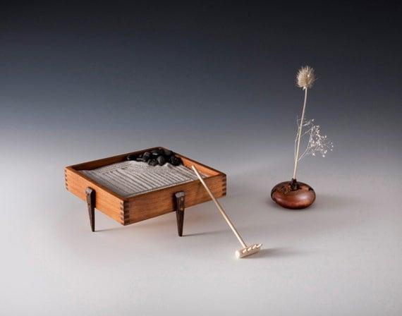Table top zen garden by woodenaddictions on etsy for Table zen garden