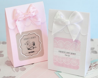 Personalized Vintage Baby Shower Favor Boxes - 24 pieces