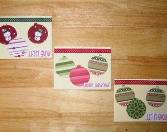 Ornament Christmas Card Set - Christmas Card - Xmas Card - Merry Christmas Card - Homemade Card - Holiday Card - Set of Three (3)