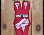 """Folk Art Primsical Whimsical Whimsey Doll """"Brunch"""" Heart Head Stump Doll FCW2014"""