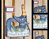 Primitive Folk Art Whimsy Fall Halloween Witch Cat Doll Flag Stick Shelf Sitter Decor Witch Is Why