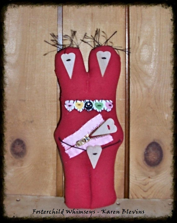 "Folk Art Primsical Whimsical Whimsey Doll ""Brunch"" Heart Head Stump Doll FCW2014"