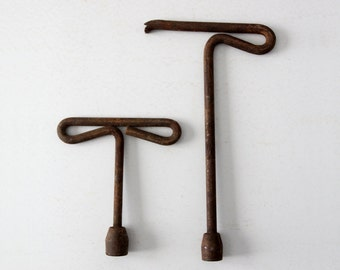 antique socket wrenches,  set 2 tools,  T handle wrench