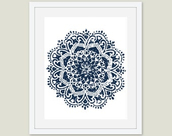 Navy Blue Lone Mandala Print - CUSTOMIZE IT - Choose Various Background Colors and Mandala Colors - Various Sizes - Price per Set