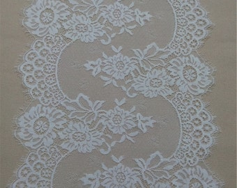 """120"""" Lace table runner , 12"""" wide white wedding table runners for vintage wedding, lace table topper  WT51107"""