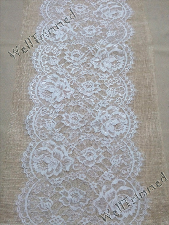Wedding table runner 10ft lace runner 12 wide lace for 12 ft table runner