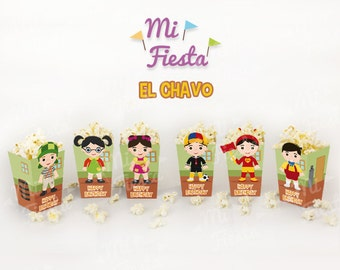 El chavo del ocho, Chaves Inspired popcorn or treat box Birthday Party Printables / Instant Digital Download DIY