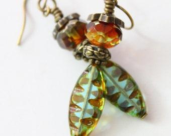Czech Picasso Earrings - Spindle Earrings - Leaf Earrings - Boho Earrings - Handmade Earrings - Czech Glass Earrings - Gypsy - Bohemian