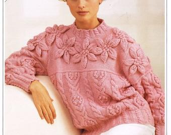 Ladies aran leaf design cardigan and jumper  vintage knitting pattern PDF instant download