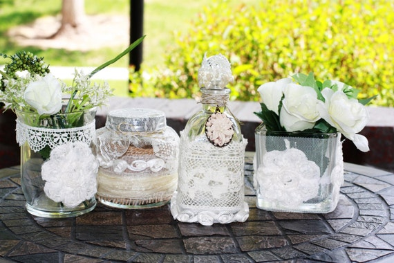 I Decorate Bottles Jars Vases With Vintage Style Lace Burlap And Canvas Ribbons Etc The Artificial Flowers You See In Photos May Be Also Added By
