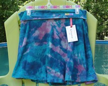 """Be Everything! """"Vibrant"""" Size Large Hand-Dyed Yoga Maxi Style Skirt with tones of aqua/blue/pink tie-dye pattern."""