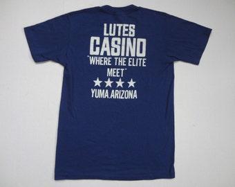 "Lutes Casino ""Where The Elite Meet"" T-Shirt Soft Vintage 1980s M"
