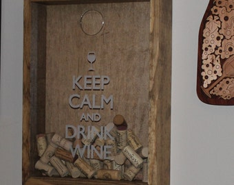 Father's Day Gift/Keep Calm and Drink WINE/Cork Holder/Decor/Bar Decor/Mother's Day/Man Gift/Engraved/Wedding Gift/Christmas Gift