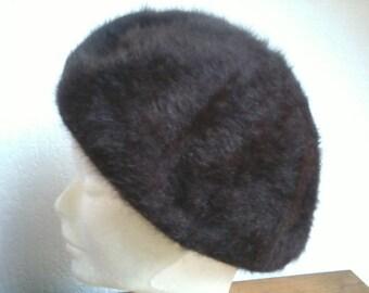 Beret hat for women false fur 1950