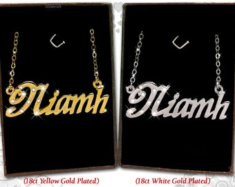 Name Necklace Niamh  - 18K Gold Plated, Czech Rhinestones