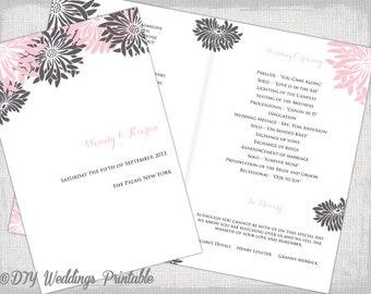 Wedding program template Navy Blue DIY printable order of