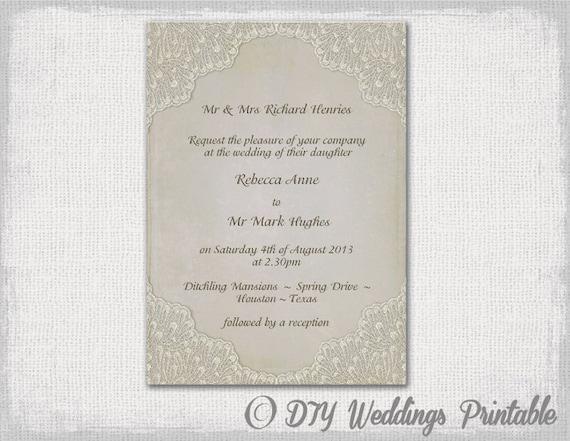 Lace Wedding Invitation Template: Wedding Invitation Template Vintage Lace DIY