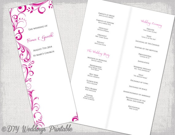 A4 wedding order of service template begonia pink a4 wedding order of service template begonia pink scroll diy printable booklet fuchsia program template long catholic service download pronofoot35fo Gallery