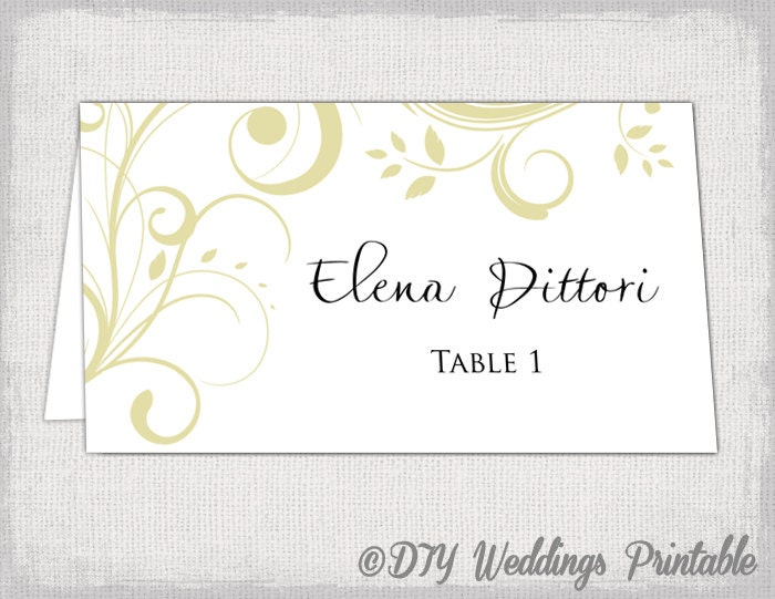 Gold Place Card Template Scroll Name Cards DIY