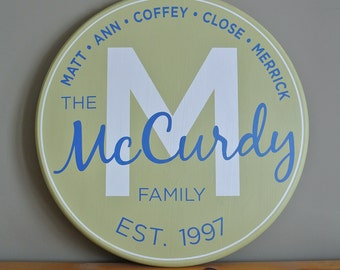 """Family Established Monogram Sign 15"""" - Personalized Name Sign - Painted Wood Sign - Wedding Anniversary Gift - Est. Date - Round Sign"""