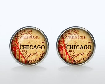 Chicago Map Cufflinks Silver plated Chicago Vintage Map Cuff links men and women Accessories Antique black brown red green