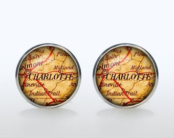 Charlotte map Cufflinks Silver plated Charlotte vintage map Cuff links men and women Accessories Antique black brown red green