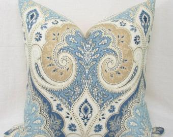 Blue & tan ikat pillow cover. Kravet Latika decorative pillow cover. 13 x 26. 14 x 26. 16 x 26 lumbar cover.