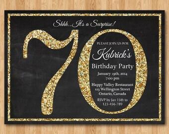 70th birthday invitation. Gold Glitter Birthday Party invite. Adult Surprise Birthday. Elegant. Printable digital DIY.
