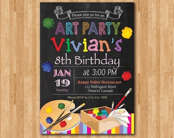 Art Birthday Invitation. Art Painting Party Invitation. Little Artist. Girl or Boy Birthday. Chalkboard. Printable digital DIY.