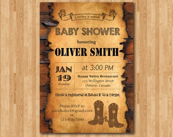 Cowboy Baby Shower Invitation. Western Boy Baby Shower Invite. Cowboy Boots. Printable digital DIY. Personalized Pint your own.