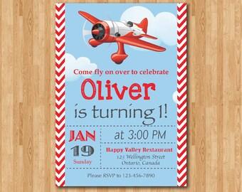 Airplane Birthday Invitation. Airplane Theme Party Invite. Boy 1st first Birthday. Red chevron stripes. Sky and cloud. DIY digital printable