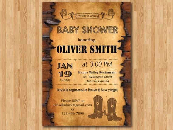 cowboy baby shower invitation. western boy baby shower invite.,
