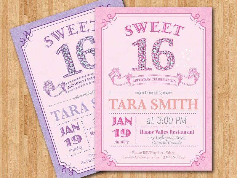 Massif image for free printable sweet 16 invitations